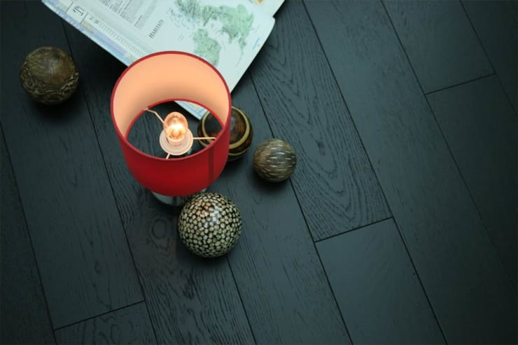 Natural Engineered Oak Jet Black Brushed UV Lacquered 14/3mm By 150mm By 400-1500mm