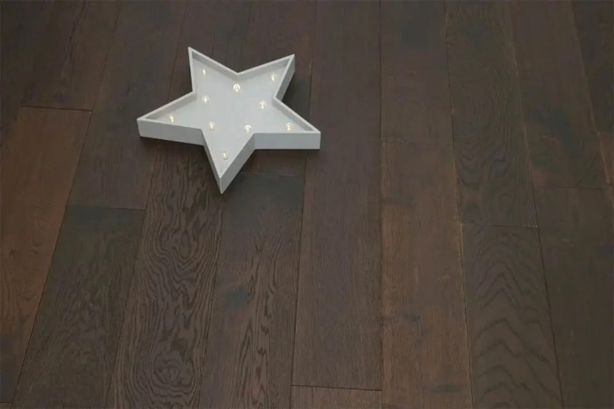 Rustic Engineered Flooring Oak Black Tea Brushed UV Oiled 14/3mm By 150mm By 400-1500mm