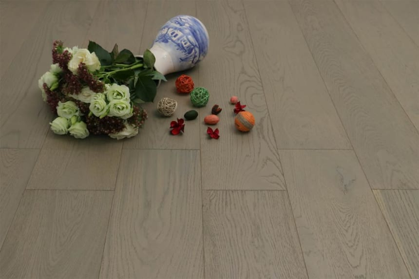 Natural Engineered Oak Click Sahara Grey Brushed UV Lacquered 14/3mm By 190mm By 400-1500mm