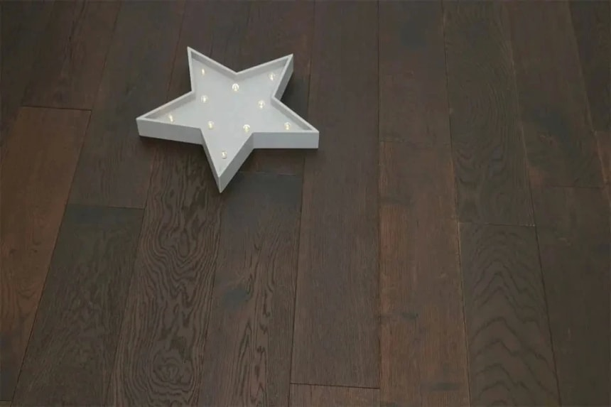 Natural Engineered Flooring Oak Black Tea Brushed UV Oiled 20/6mm By 180mm By 1900mm