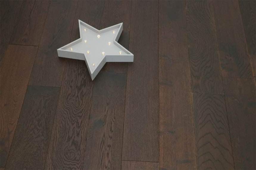 Natural Engineered Flooring Oak Click Black Tea Brushed UV Oiled 14/3mm By 190mm By 1900mm