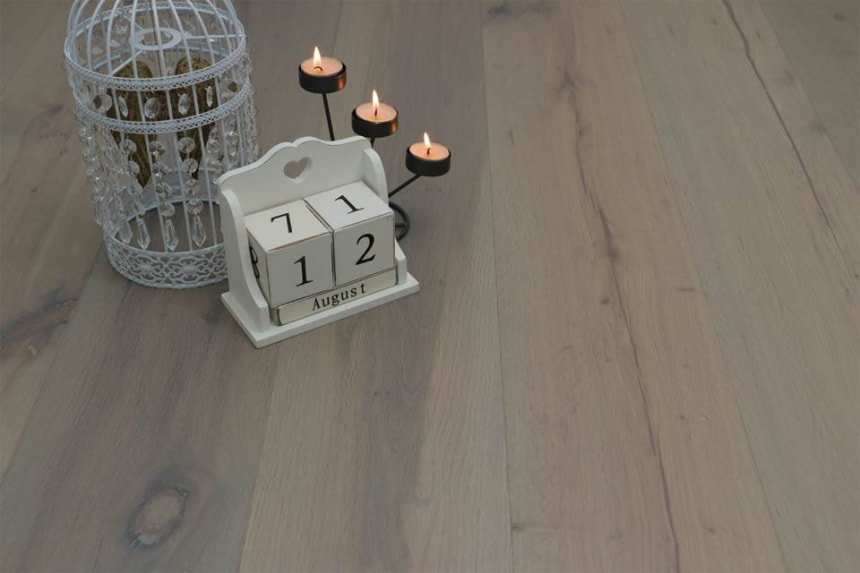 Natural Engineered Flooring Oak Click White Grey Brushed UV Oiled 14/3mm By 190mm By 1900mm