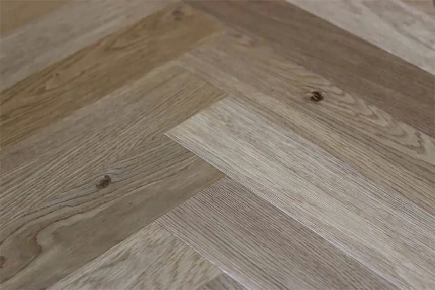 Natural Engineered Flooring Oak Herringbone Smoked Brushed UV Oiled 15/4mm By 90mm By 600mm
