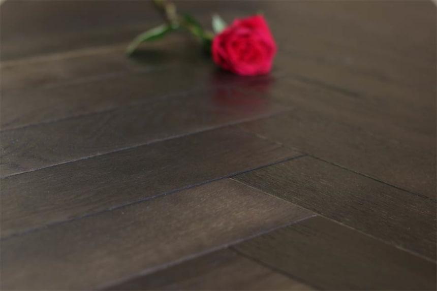 Natural Engineered Oak Herringbone Dark Affocato UV Oiled 15/4mm By 90mm By 630mm