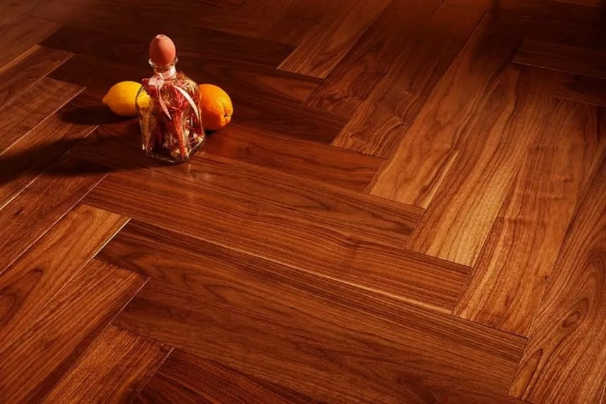Prime Engineered Flooring American Walnut Herringbone UV Lacquered 14/3mm By 97mm By 790mm