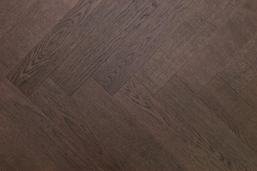 Prime Engineered Flooring Oak Herringbone Black Tea Brushed UV Matt Lacquered 14/3mm By 98mm By 790mm