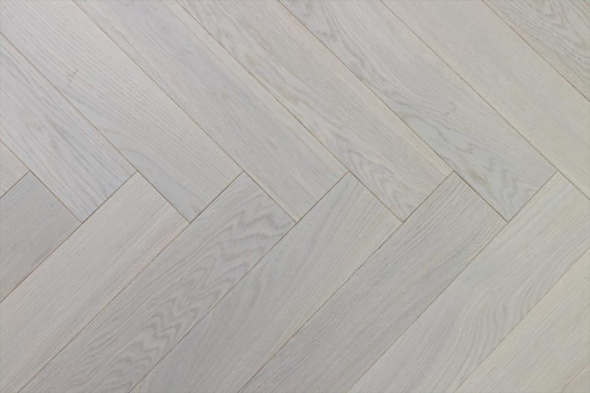 Prime Engineered Flooring Oak Herringbone White UV Oiled 14/3mm By 98mm By 790mm