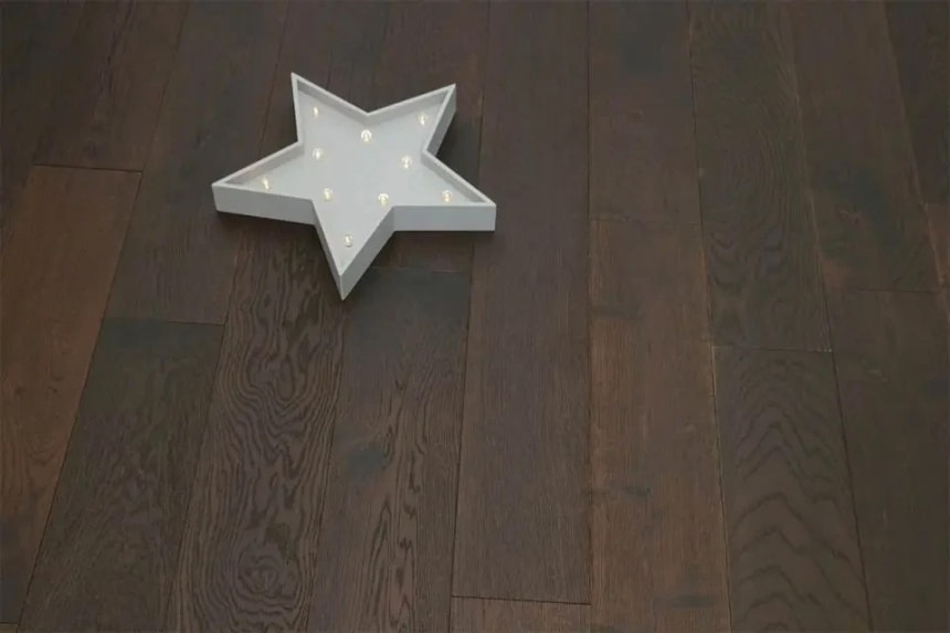 Natural Engineered Flooring Oak Black Tea UV Oiled 14/3mm By 190mm By 400-1500m