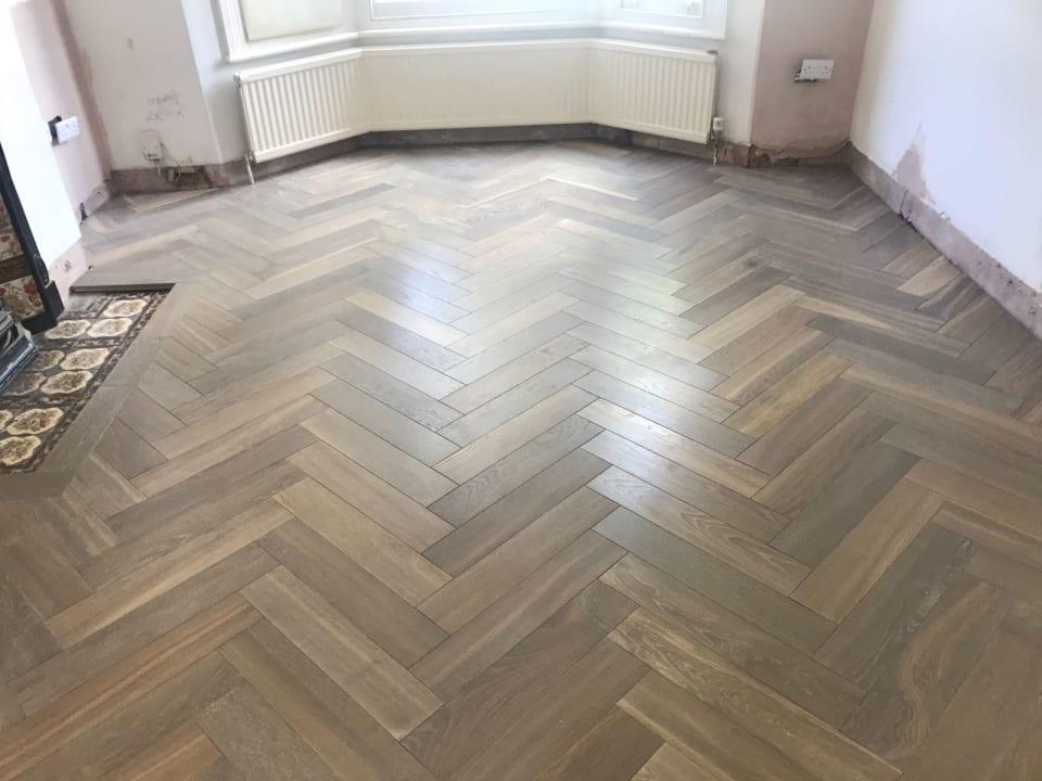 Bespoke Herringbone Silver Flooring