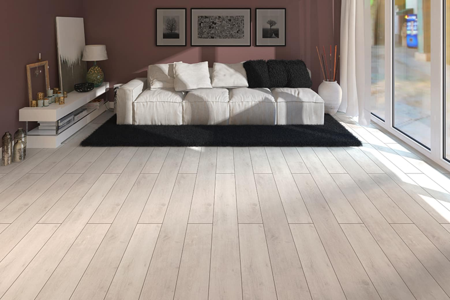 Everest White Oak Light Laminate Flooring 8mm By 193mm By