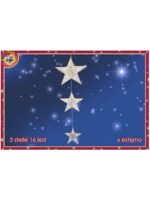General Trade Set 3 Stelle Luminose Da Esterno 16 Led - Decorazione Natalizia