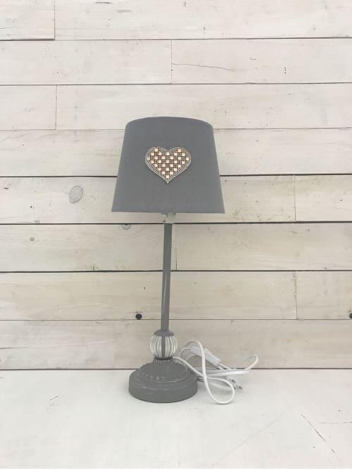 Lampada da tavolo grigia con cuore strass - Lorenzongift
