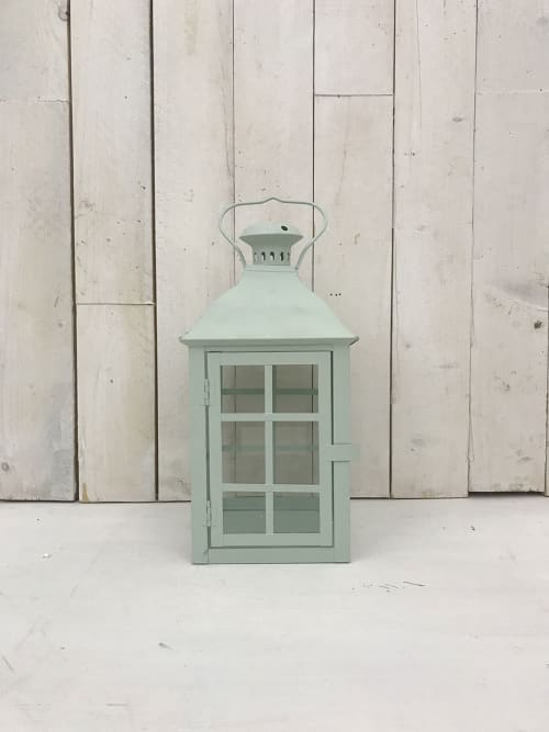 Lanterna, in ferro, colore verde pastello