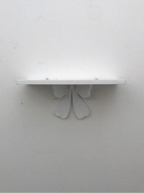 Mensola rettangolare artigianale shabby chic con fiocco