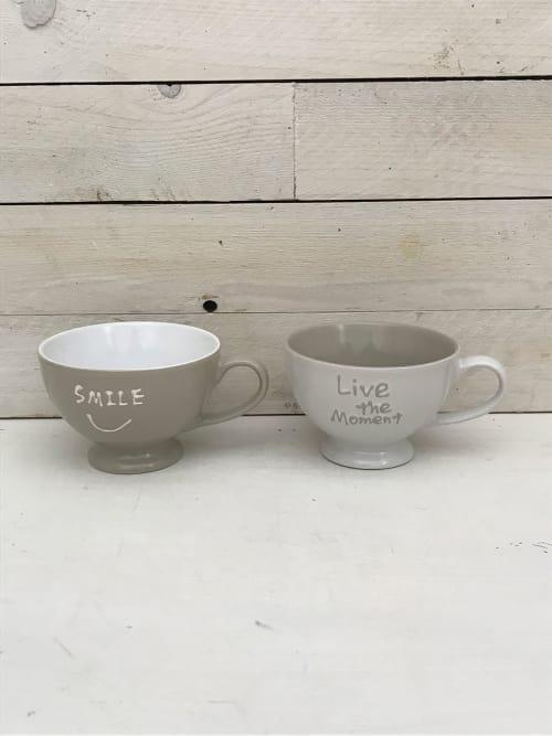 Set 2 tazze da colazione bianca e grigia - Lorenzongift