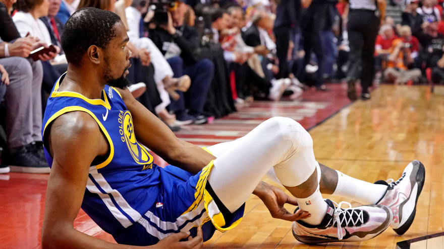 Kevin Durant limps off court with leg injury during Game 5