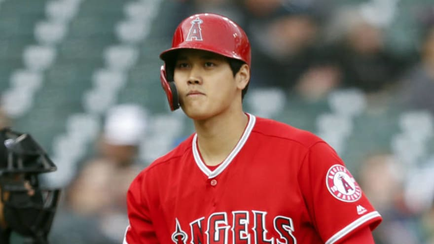 5ee98c12f3b Watch  Shohei Ohtani hit by pitch on surgically-repaired elbow ...