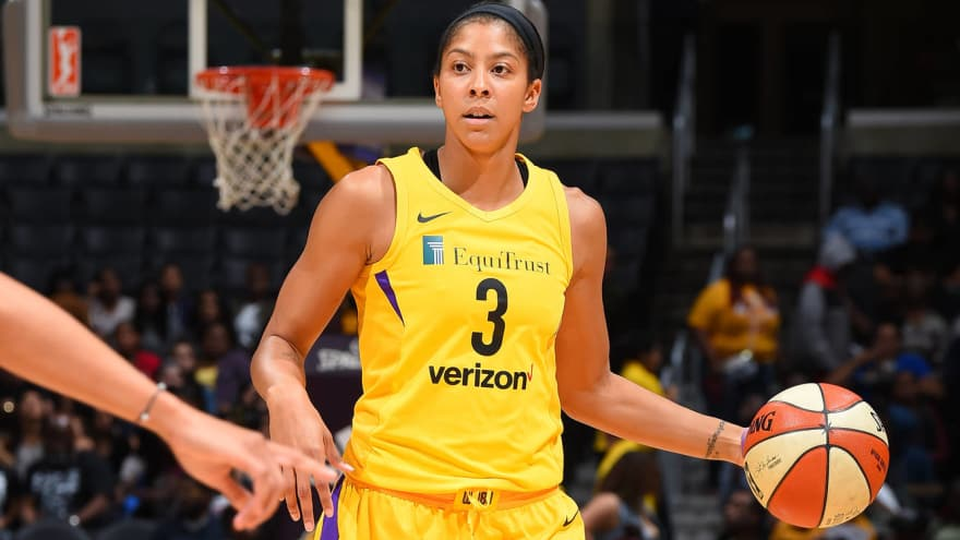 8b66af2c61a Candace Parker of the Los Angeles Sparks handles the ball against the  Indiana Fever on June 19