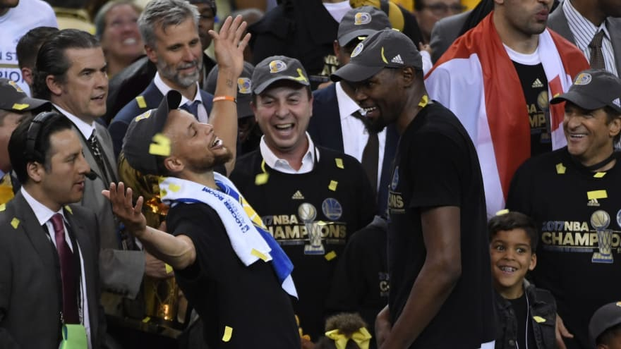6eaaddbc9563 ... Warriors guard Stephen Curry (30) celebrates with forward Kevin Durant  (35) after game five of the 2017 NBA Finals against the Cleveland Cavaliers  at ...