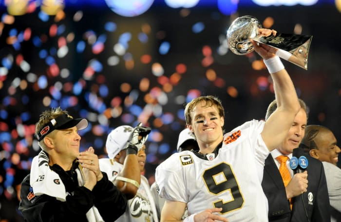 Super Bowl XLIV: Drew Brees, New Orleans Saints, and Peyton Manning, Indianapolis Colts