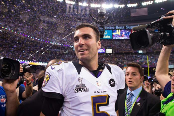 Super Bowl XLVII: Joe Flacco, Baltimore Ravens, and Colin Kaepernick, San Francisco 49ers