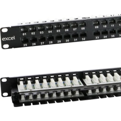 Excel Category 6 (UTP) Unscreened Right Angle Patch Panel 48 Port