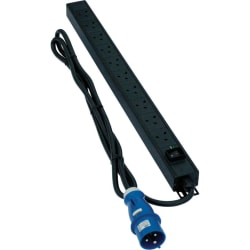 Excel 6-way Horizontal PDU - 6x  UK sockets, 32A IEC 60309 plug -
