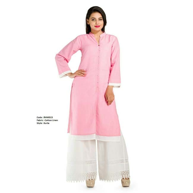 Double layer linen Sherwani  (Pink/White)