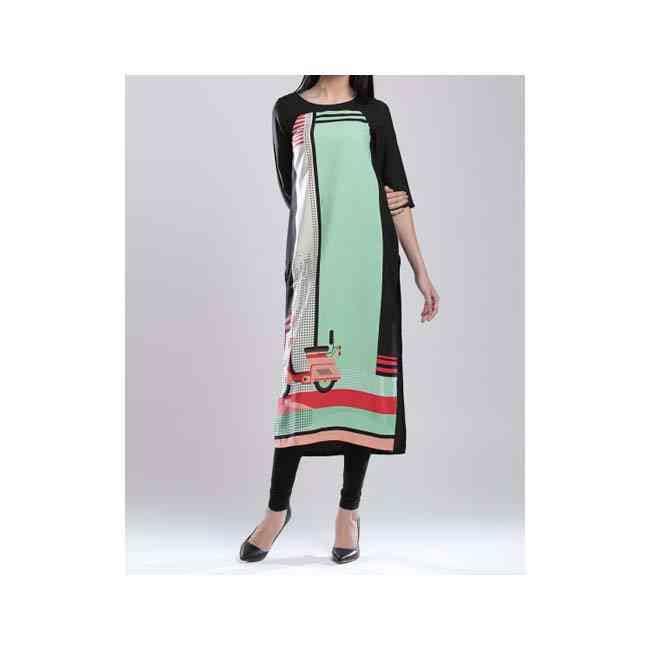 W Black & Green Polyester Printed Kurta online