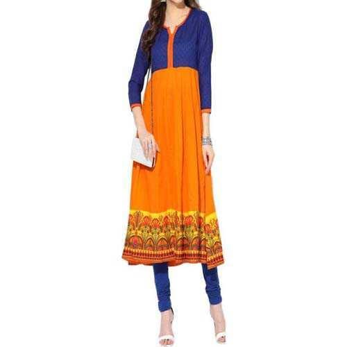 Women's kurta Aks Solid Women's Anarkali Kurta  (Orange)